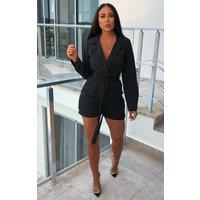 Black Belted Blazer Playsuit - Jemima