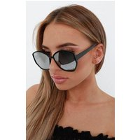 Black Mirrored Thin Frame Hexagon Sunglasses - Deja