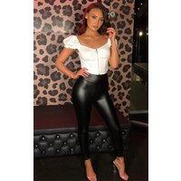Black Pu Leather Look Leggings - Colette
