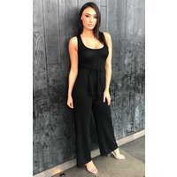 Black Ribbed Culotte Jumpsuit - Catalyn