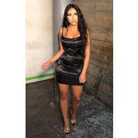 Black Satin Cami Slip Dress - Emilia