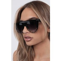 Black Tortoise Shell Semi Circle Sunglasses - June
