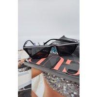 Black & White Stripe Retro Sunglasses - Gabby