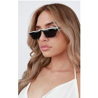 Black & White Stripe Retro Sunglasses - Gabby