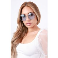 Blue Round Thin Frame Sunglasses - Juliet