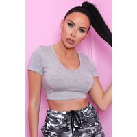 Grey Fitted Short Sleeve Crop Top - Zayni