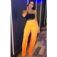 Neon Orange Wide Leg Belted Trousers - Lucie