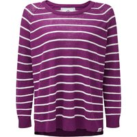 TOG24 Hicks Womens Linen Cotton Stripe Crew Neck Jumper - Mulberry