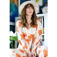 Snare Geometric Print Jumpsuit in Orange and White