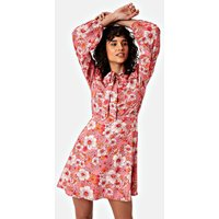 Thrill Long Sleeve Mini Dress in Pink Floral Print