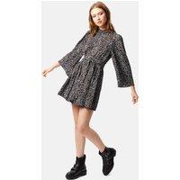 Sable Mini Skater Dress in Black Animal Print