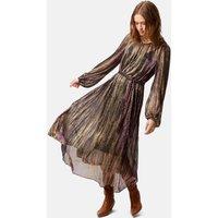 Blanche Metallic Long Sleeve Midi Dress