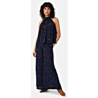 Ink Stories Palazzo Printed Trousers in Navy