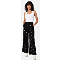 Embroidered Floral MD Flared Trousers in Black