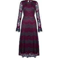 Bountiful Lace Long Sleeve Midi Dress in Maroon and Green
