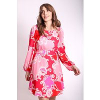 Paisley Printed Mini Dress in Pink and Red