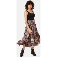 Bell On Her Toes Paisley Boho Skirt in Black and Purple