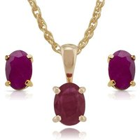 Classic Oval Ruby Single Stone 9ct gold Stud Earrings and Pendant Set