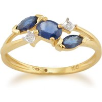 Contemporary Marquise Light Blue Sapphire and Diamond Three Stone Ring in 9ct Yellow Gold