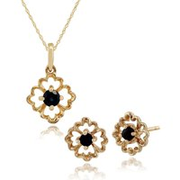 Floral Round Sapphire Framed Stud Earrings & Pendant Set in 9ct Yellow Gold