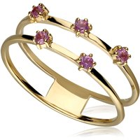 Modern Glam Pink Sapphire Double Band Ring In 9ct Gold