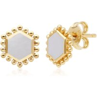 Mother of Pearl Flat Slice Hex Stud Earrings in Gold Plated Sterling Silver