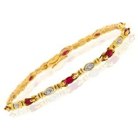 Gemondo 9ct Yellow Gold 1.38ct Genuine Ruby & 5pt Diamond 18cm Bracelet