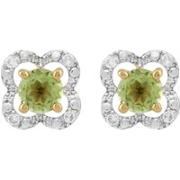 Image of Classic Round Peridot Stud Earrings with Detachable Diamond Floral Ear Jacket in 9ct Yellow Gold