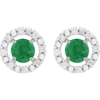 Classic Round Emerald Stud Earrings with Detachable Diamond Round Ear Jacket in 9ct White Gold