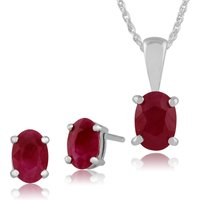 Classic Oval Ruby Single Stone Stud Earrings and Pendant Set in 9ct White Gold