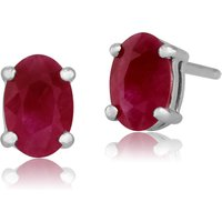 Classic Oval Ruby Stud Earrings in 9ct White Gold 6x4mm