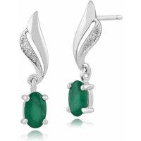 Classic Oval Emerald & Diamond Twist Drop Earrings in 9ct White Gold
