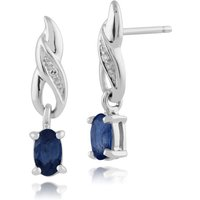 Classic Oval Sapphire and Diamond Drop Earrings in 9ct White Gold
