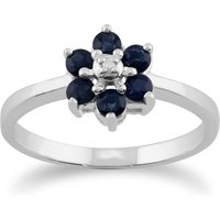 Floral Round Sapphire and Diamond Cluster Ring in 9ct White Gold