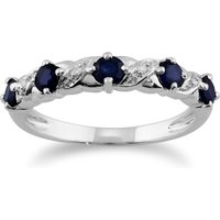Classic Round Sapphire and Diamond Half Eternity Ring in9ct White Gold