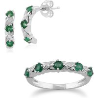 Classic Round Emerald and Diamond Half Hoop Earrings and Half Eternity Ring Set in 9ct White Gold