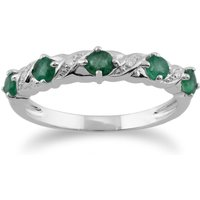 Image of Classic Round Emerald & Diamond Half Eternity Ring in 9ct White Gold