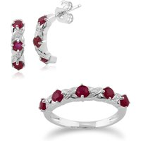 Classic Round Ruby and Diamond Half Hoop Earrings and Half Eternity Ring Set in 9ct White Gold