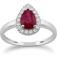 Classic Pear Ruby and Diamond Cluster Ring in 9ct White Gold
