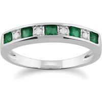 Classic Square Emerald and Diamond Half Eternity Ring 9ct White Gold