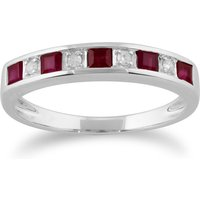 Classic Square Ruby and Diamond Half Eternity Ring 9ct White Gold