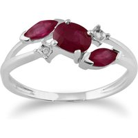 Classic Oval Ruby and Diamond Crossover Ring in 9ct White Gold