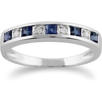 Classic Square Light Blue Sapphire and Diamond Half Eternity Ring in 9ct White Gold