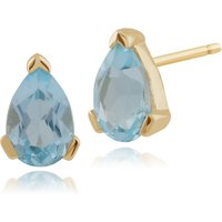 Classic Pear Blue Topaz Stud Earrings in 9ct Yellow Gold 6.5x4mm