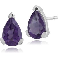 Classic Pear Amethyst Stud Earrings in 9ct White Gold 6.5x4mm