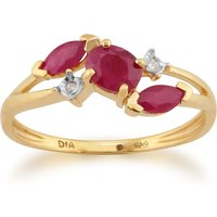 Contemporary Marquise Ruby and Diamond Three Stone Ring in 9ct Yellow Gold
