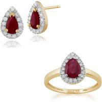 Classic Pear Ruby and Diamond Halo Stud Earrings and Ring Set in 9ct Yellow Gold