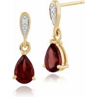 Classic Pear Garnet & Diamond Drop Earrings in 9ct Yellow Gold