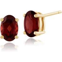 Classic Oval Garnet Stud Earrings in 9ct Yellow Gold 6x4mm