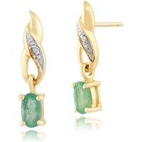 Art Nouveau Oval Emerald & Diamond Drop Earrings in 9ct Yellow Gold